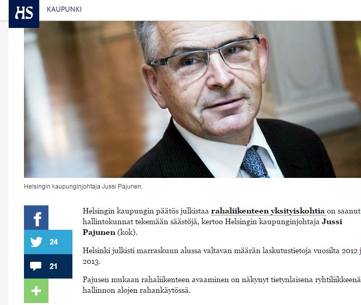 """HS 28.11.2014 – Pajunen julkisti kaikki Helsingin laskut, jotta rahankäyttöön saadaan järkeä: """"Alkuun tuottaa tuskaa"""""""
