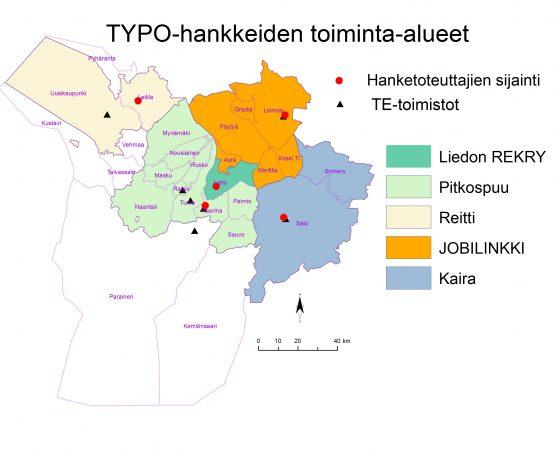 TYPO-hankkeiden toiminta-alueet kartalla!