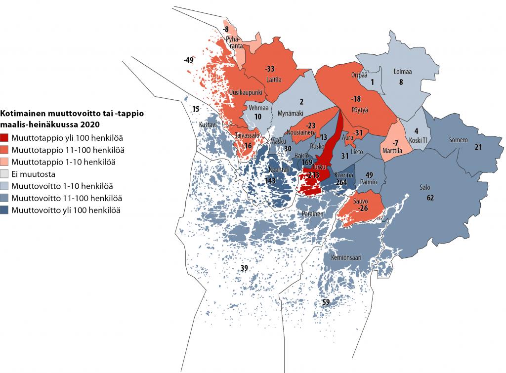 Karttakuva kuntien välisestä nettomuutosta Varsinais-Suomessa