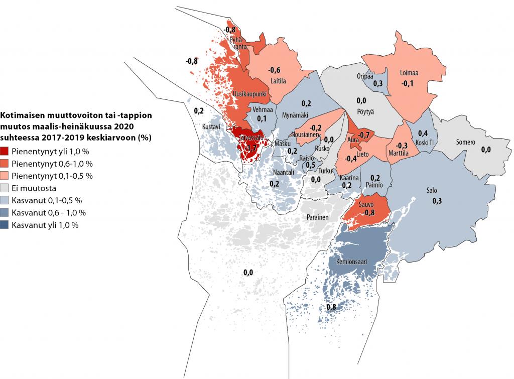 Karttakuva kuntien välisestä nettomuuton muutoksesta Varsinais-Suomessa